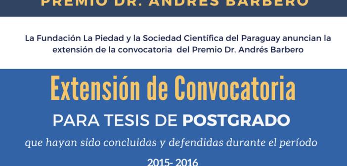 El Premio Dr. Andrés Barbero extiende la convocatoria para tesis de postgrado en el área de Ciencias de la Salud y Biomedicina